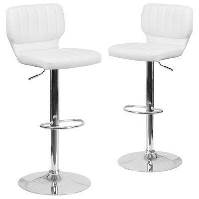 Norrell Adjustable Swivel Bar Stool Upholstery: White