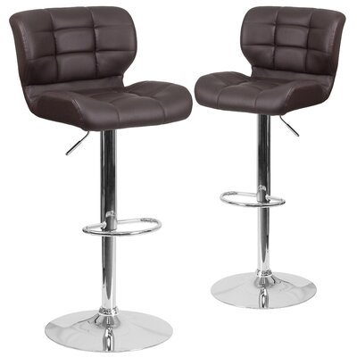 North Widcombe Adjustable Height Swivel Bar Stool Upholstery: Brown