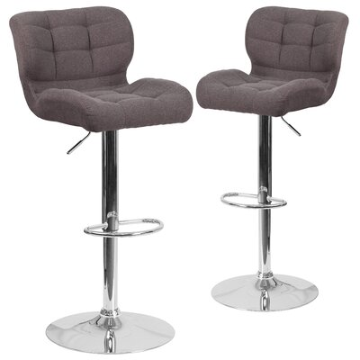 Hackbarth Adjustable Height Swivel Bar Stool Upholstery: Dark Gray