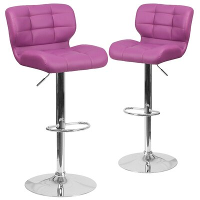 North Widcombe Adjustable Height Swivel Bar Stool Upholstery: Purple
