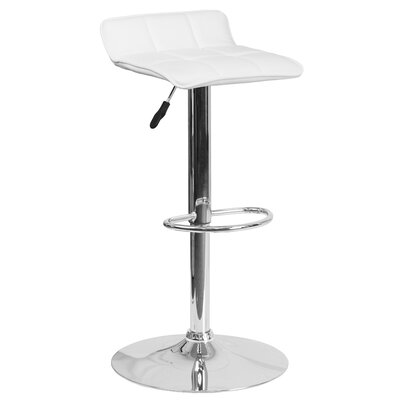 Noriega Adjustable Height Swivel Bar Stool Upholstery: White