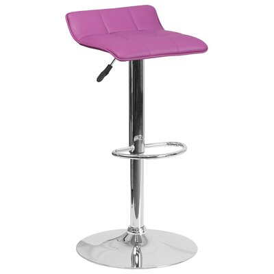 Noriega Adjustable Height Swivel Bar Stool Upholstery: Purple