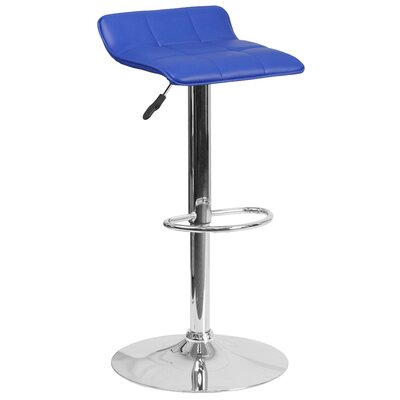 Noriega Adjustable Height Swivel Bar Stool Upholstery: Blue