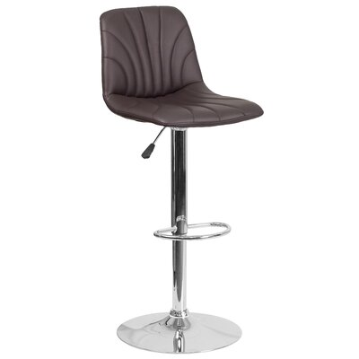 Norfleet Adjustable Height Swivel Bar Stool Upholstery: Brown