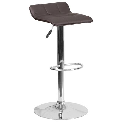 Noriega Adjustable Height Swivel Bar Stool Upholstery: Brown