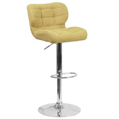 Aurigae Adjustable Height Swivel Bar Stool Upholstery: Green