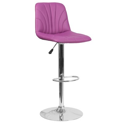 Norfleet Adjustable Height Swivel Bar Stool Upholstery: Purple