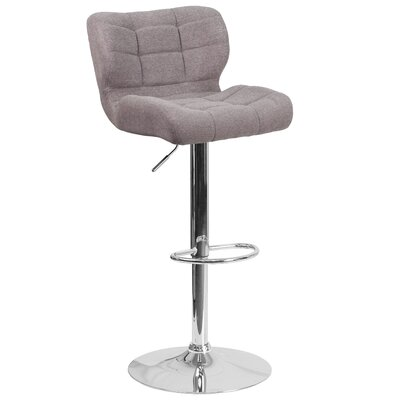 Aurigae Adjustable Height Swivel Bar Stool Upholstery: Gray