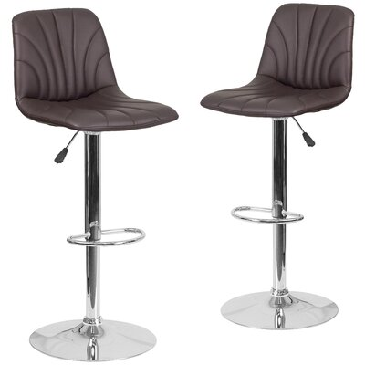 Noritake Adjustable Height Swivel Bar Stool Upholstery: Brown
