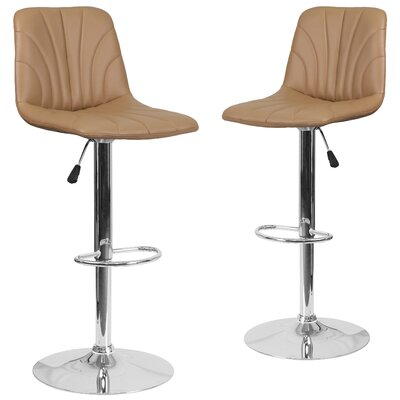 Noritake Adjustable Height Swivel Bar Stool Upholstery: Cappuccino