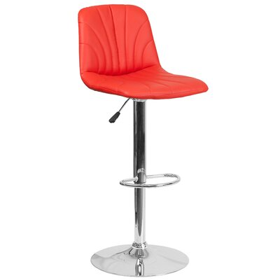 Norfleet Adjustable Height Swivel Bar Stool Upholstery: Red