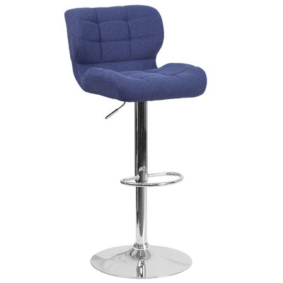 Aurigae Adjustable Height Swivel Bar Stool Upholstery: Blue