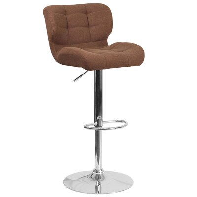 Aurigae Adjustable Height Swivel Bar Stool Upholstery: Brown