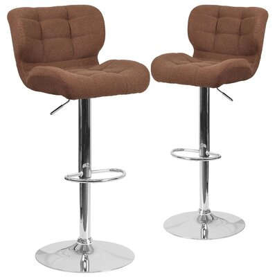 Hackbarth Adjustable Height Swivel Bar Stool Upholstery: Brown