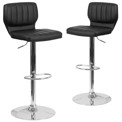 Norrell Adjustable Swivel Bar Stool Upholstery: Black