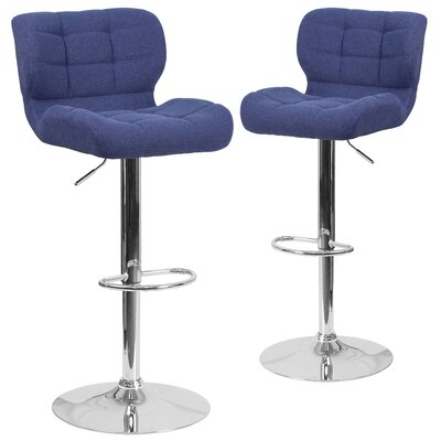 Hackbarth Adjustable Height Swivel Bar Stool Upholstery: Blue
