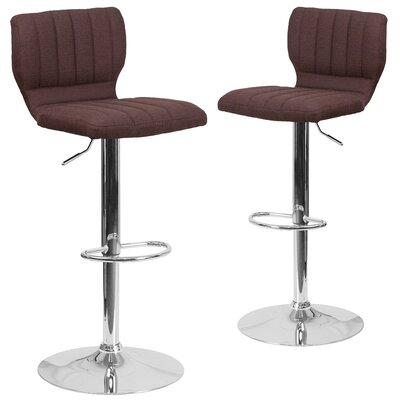 Hadnot Adjustable Height Swivel Bar Stool Upholstery: Brown