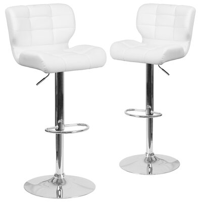 North Widcombe Adjustable Height Swivel Bar Stool Upholstery: White