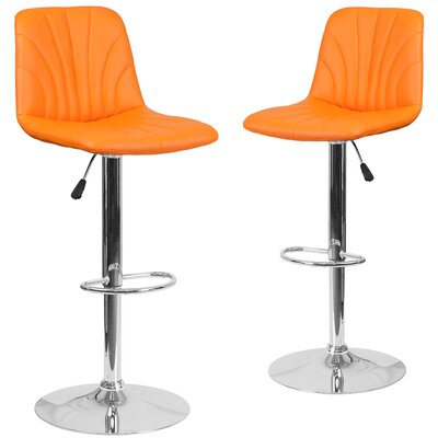 Custis Adjustable Height Swivel Bar Stool Upholstery: Orange