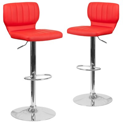 Adjustable Swivel Bar Stool Upholstery: Red