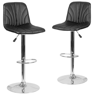Noritake Adjustable Height Swivel Bar Stool Upholstery: Black