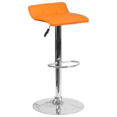 Noriega Adjustable Height Swivel Bar Stool Upholstery: Orange