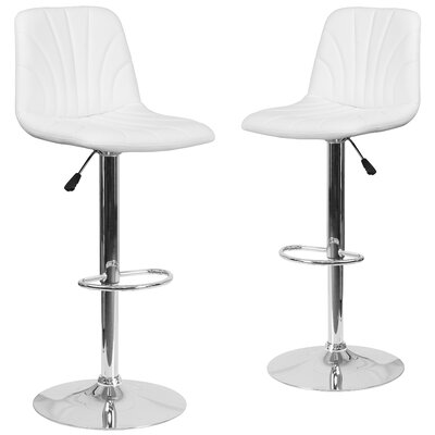 Custis Adjustable Height Swivel Bar Stool Upholstery: White