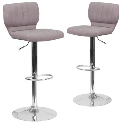 Hadnot Adjustable Height Swivel Bar Stool Upholstery: Gray