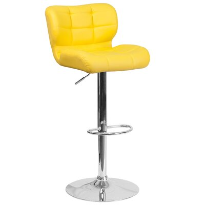 Adjustable Height Swivel Bar Stool Upholstery: Yellow