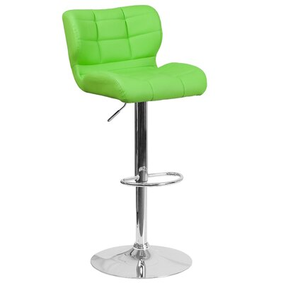 Noren Adjustable Height Swivel Bar Stool Upholstery: Green