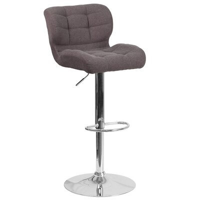 Aurigae Adjustable Height Swivel Bar Stool Upholstery: Dark Gray