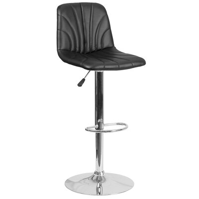 Norfleet Adjustable Height Swivel Bar Stool Upholstery: Black