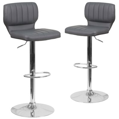 Adjustable Swivel Bar Stool Upholstery: Gray