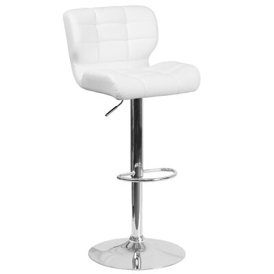 Noren Adjustable Height Swivel Bar Stool Upholstery: White
