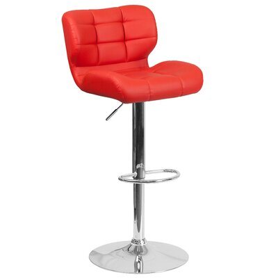 Noren Adjustable Height Swivel Bar Stool Upholstery: Red