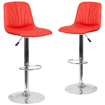 Noritake Adjustable Height Swivel Bar Stool Upholstery: Red
