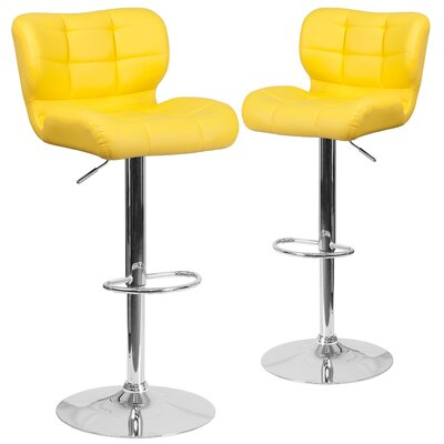 North Widcombe Adjustable Height Swivel Bar Stool Upholstery: Yellow
