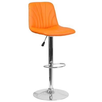 Norfleet Adjustable Height Swivel Bar Stool Upholstery: Orange