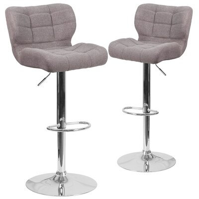 Hackbarth Adjustable Height Swivel Bar Stool Upholstery: Gray