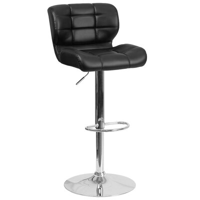 Noren Adjustable Height Swivel Bar Stool Upholstery: Black