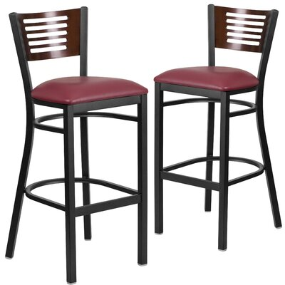 Mat 32 Bar Stool Upholstery: Burgundy