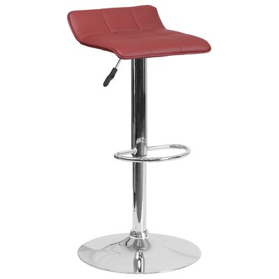 Noriega Adjustable Height Swivel Bar Stool Upholstery: Burgundy