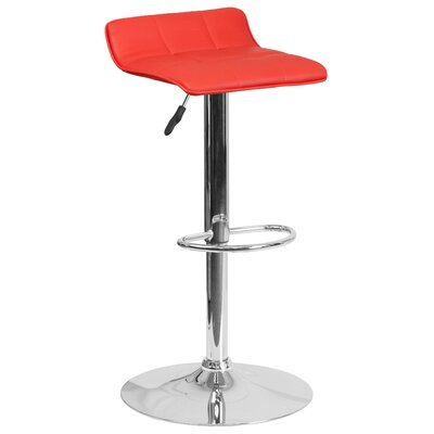 Noriega Adjustable Height Swivel Bar Stool Upholstery: Red