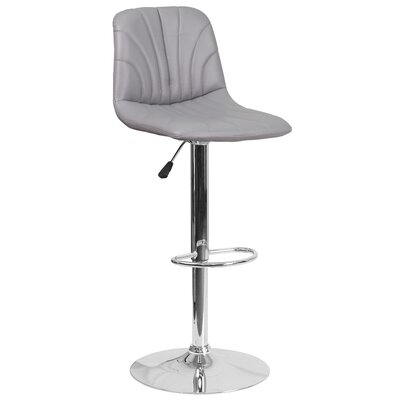 Norfleet Adjustable Height Swivel Bar Stool Upholstery: Gray