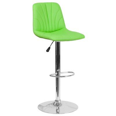 Norfleet Adjustable Height Swivel Bar Stool Upholstery: Green