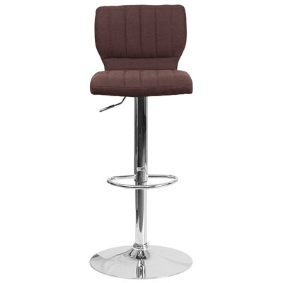 Rouillard Adjustable Height Swivel Bar Stool Color: Brown