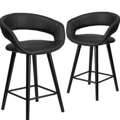 Brynn series 24 Bar Stool Upholstery: Black