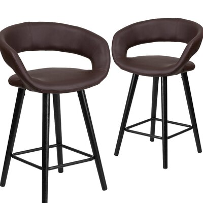 Brynn series 24 Bar Stool Upholstery: Brown