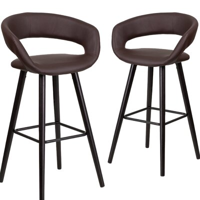 Palafox 29 Bar Stool Upholstery: Brown