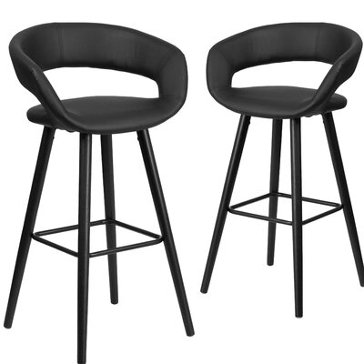 Brynn Series 29 Bar Stool Upholstery: Black